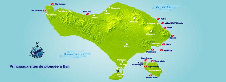 Carte des sites de plongée à Bali | Diving Bali ...